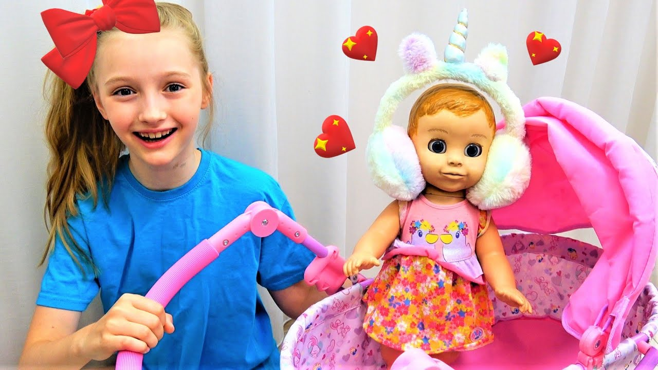 Polina playing with baby doll and more kids videos
