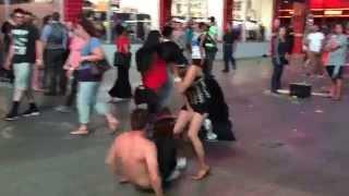 Dancer accidentally pisses on bystander in Vegas lasvegasthegame.com