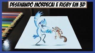 Desenhando Mordecai e Rigby de Apenas um Show em 3D (Drawing regular Show in 3D)