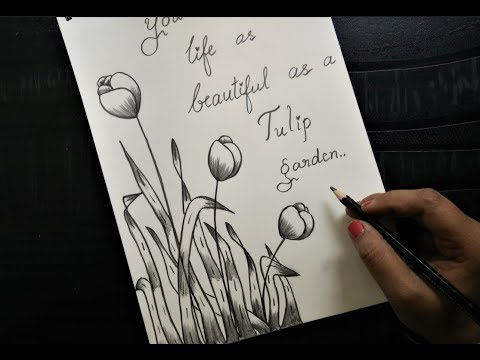 How To Make Greeting Card With Pencil Sketch Version 3 Tulips Youtube