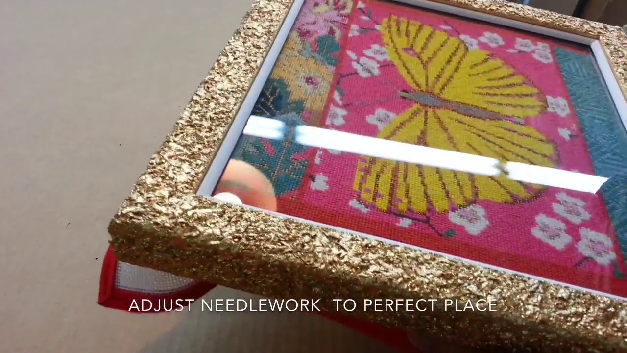 How to frame a needlepoint artwork - YouTube