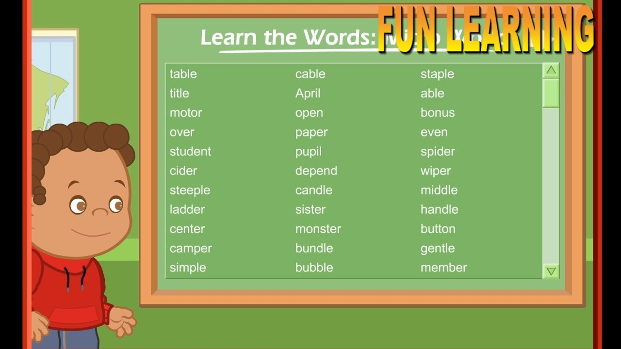 LEARNING FOR TODDLERS AND KIDS. WORDS, SOUNDS, SYLLABLES