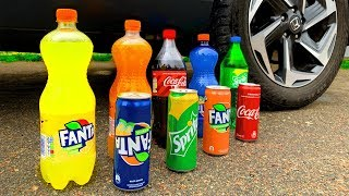 Crushing Crunchy & Soft Things by Car! Experiment Car vs Coca Cola vs Fanta with Slow Motion!