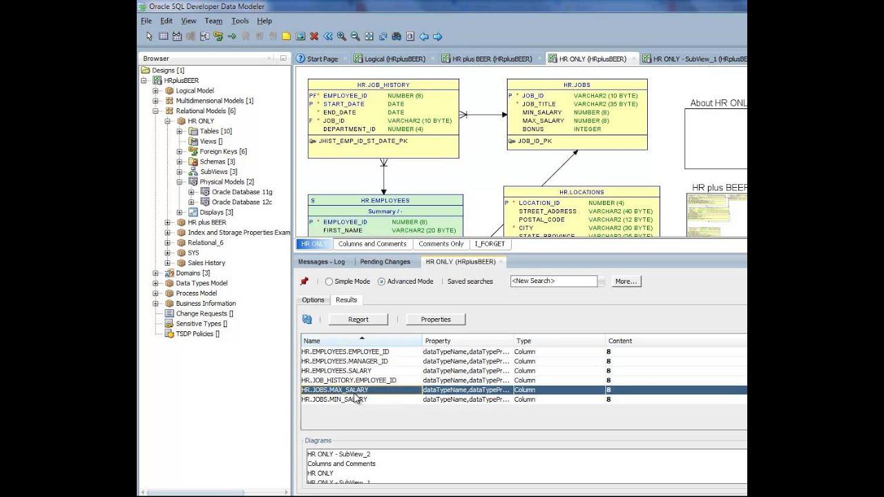 Oracle SQL Developer Data Modeler: Search & Replace