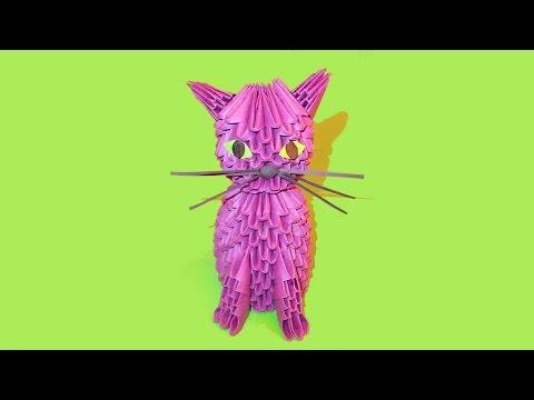 3D origami cat (kitten, kitty) tutorial