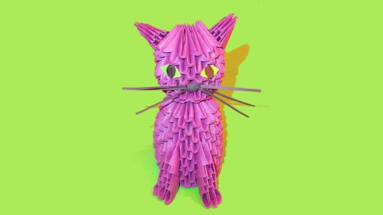 3D origami cat (kitten, kitty) tutorial - YouTube - photo#31