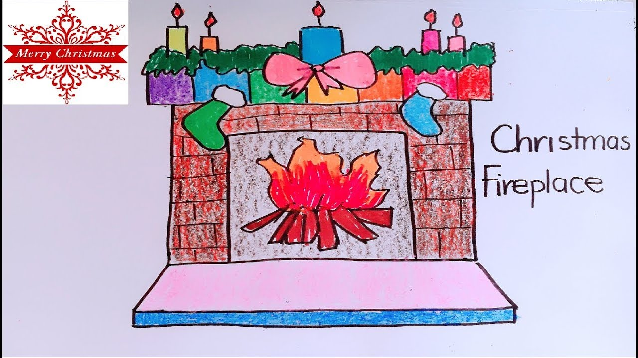 How to draw the Christmas Fireplace for beginner (Auld lang syne; Oh little  town of bethlehem)