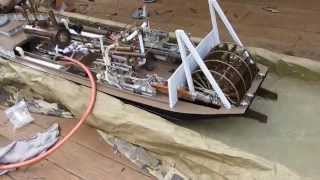 Liberty Belle Steam Powered Model Sternwheeler Test Float and Run !