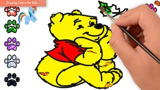 Pooh Bear Drawing For Kid | How To Draw Pooh Bear | Drawing Colors For Kids