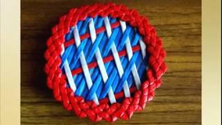 Плетение крышки из газетных трубочек способом Художественная штопка - урок 9/Weave caps out of paper