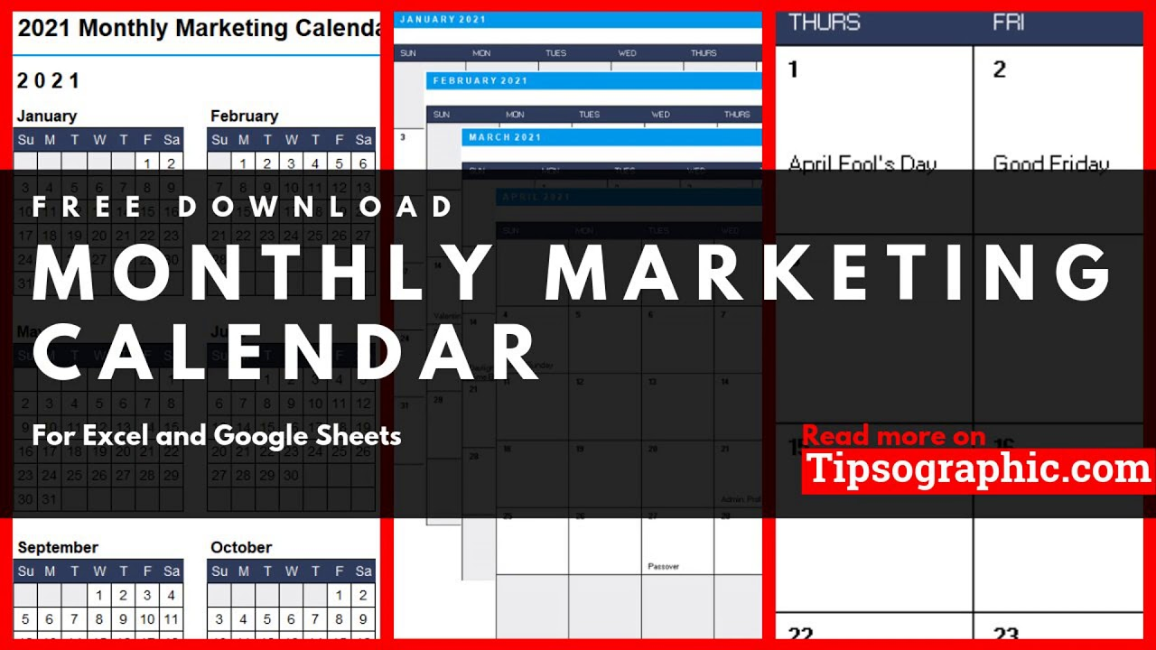 Monthly Marketing Calendar Template for Excel, Free Download (2020
