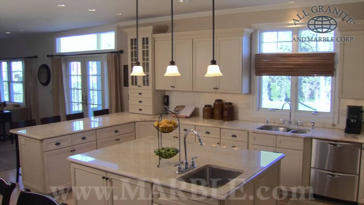 Granite Kitchen Countertops With White Cabinets Colonial Cream Granite Kitchen Countertops By Marble