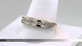 14k Yellow Gold Mens Diamond Wedding Ring Band