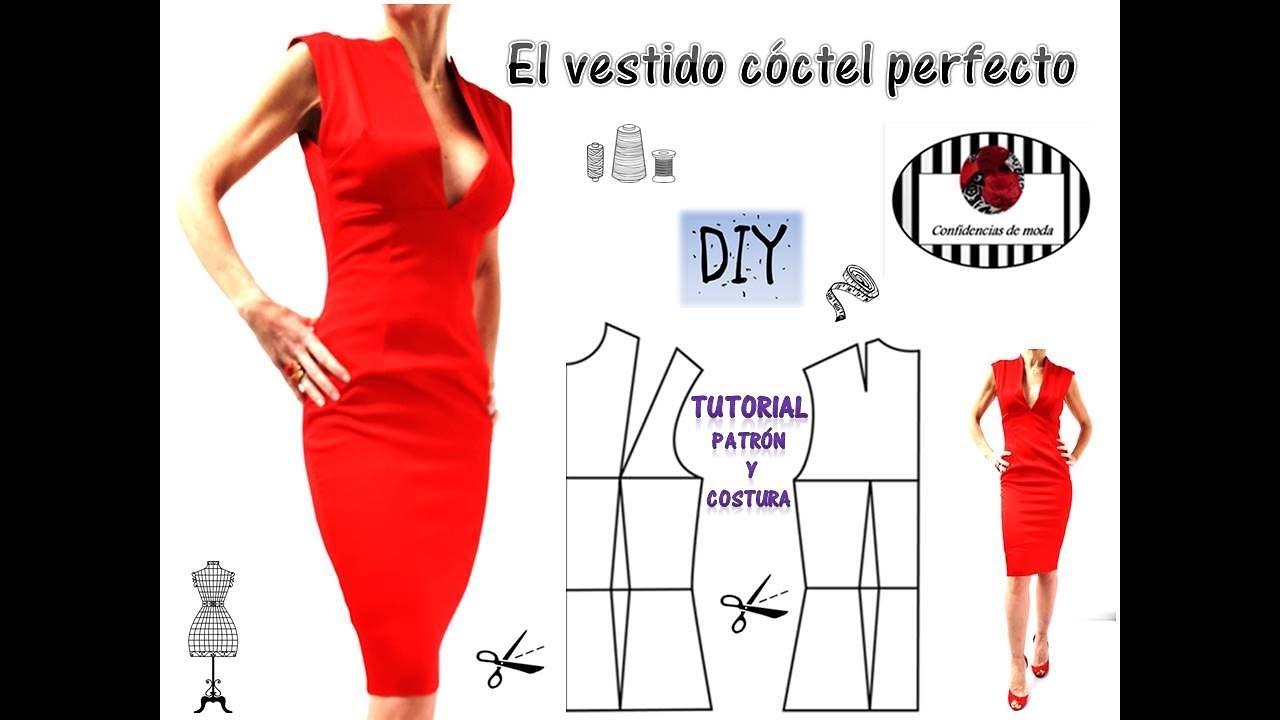 DIY .Cómo hacer un vestido rojo forrado paso a paso. The perfect ...