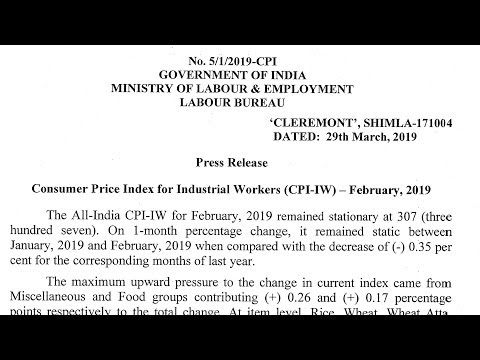 Consumer Price Index For Industrial Worker (CPI-IW)-- FEBRUARY,2019