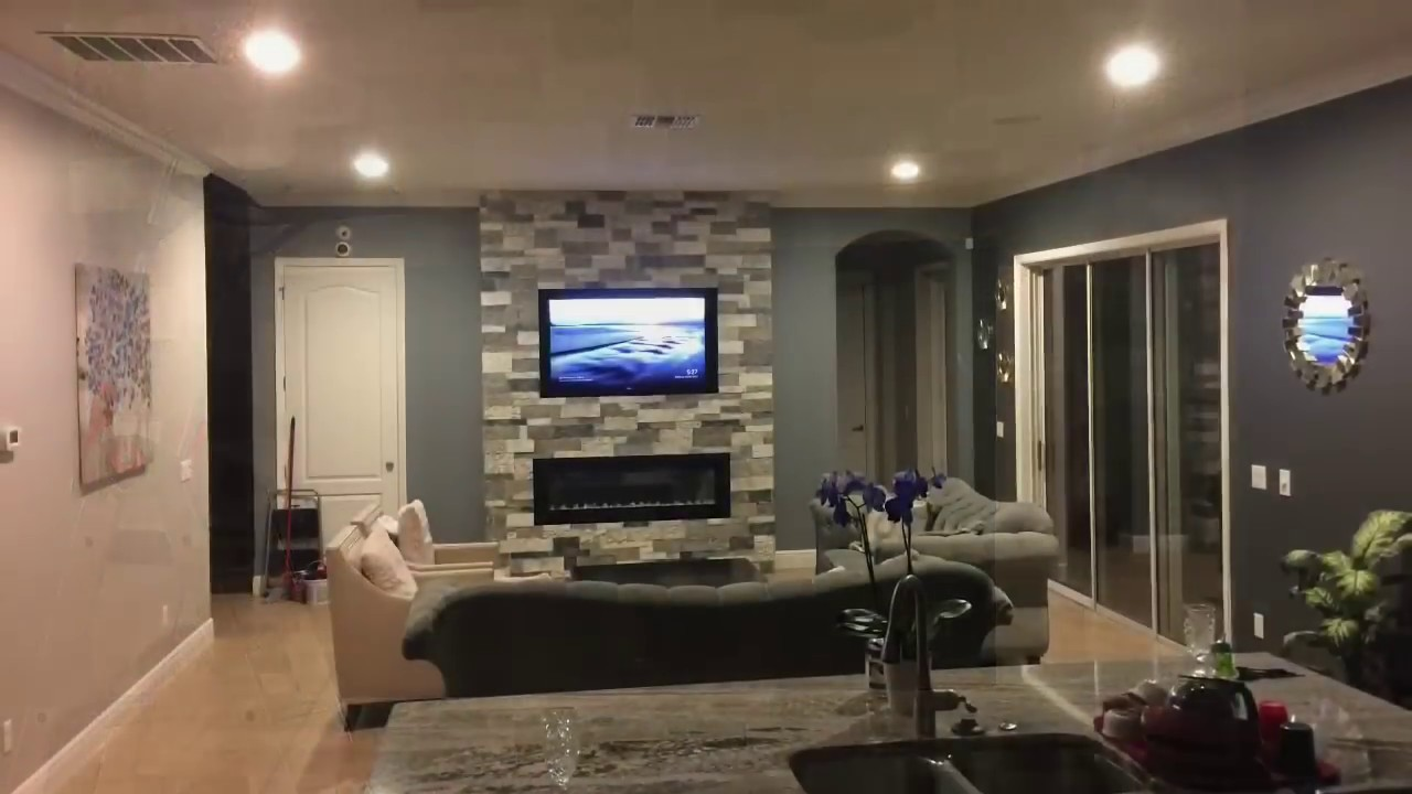Fireplace Tv Combo How To Build An Electric Fireplace Tv Combo Stone Wall