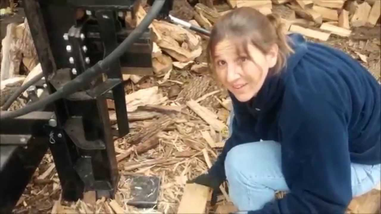 - My Wife Splitting Firewood With Menards Forest King 22 Ton - YouTube