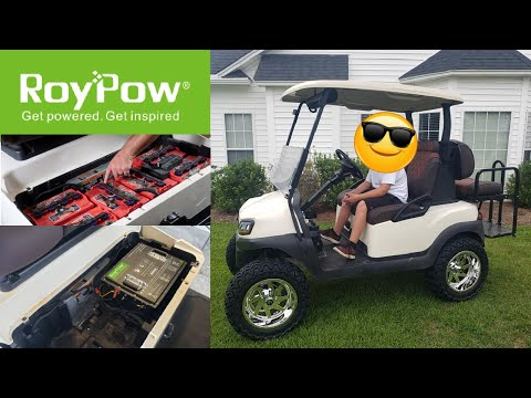RoyPow Lithium Battery Conversion & Review  Golf Cart | Club Car Ezgo Yamaha | Weighs Only 95LBS