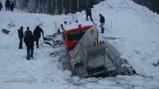 Ратрак провалился под лёд на пруду Качканара
