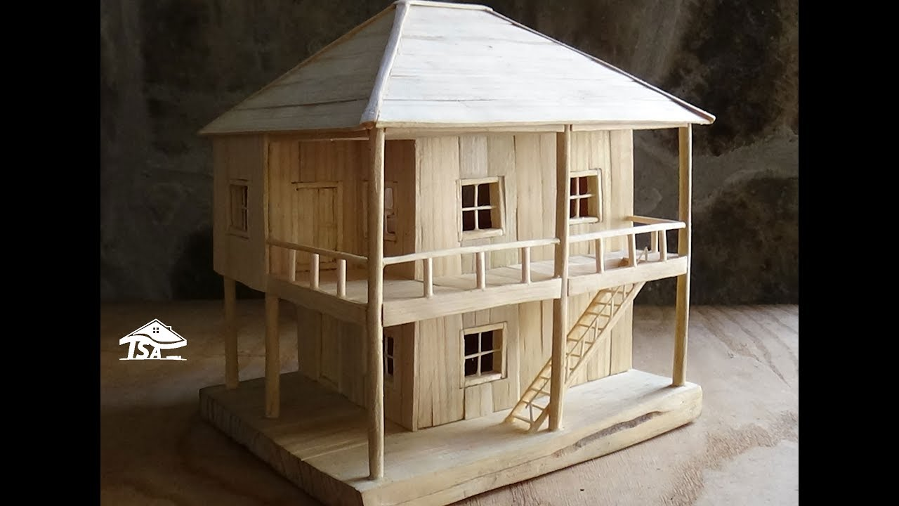 How to make a wooden model house youtube for How to make house green