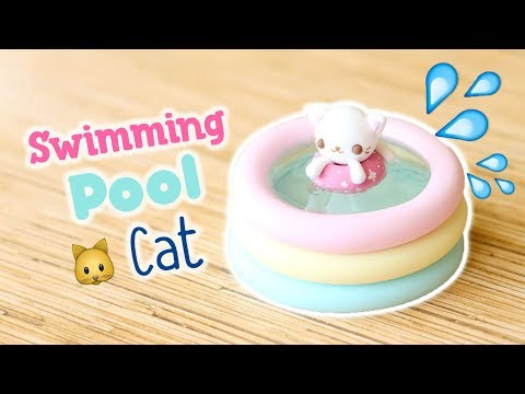 Kawaii Swimming Pool Cat│Polymer Clay & UV Resin Tutorial