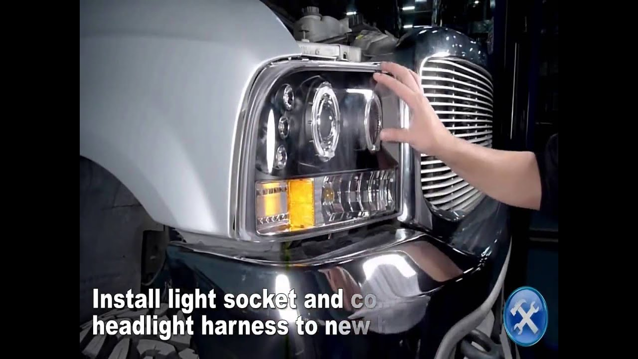 specdtuning installation video 1999 2004 ford f250 f350 led projector headlights mp4 [ 1280 x 720 Pixel ]