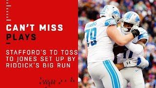 Stafford's TD Toss to Jones Set Up by Riddick's Big Run
