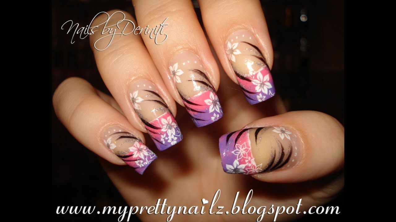 Pink and Purple Ombre French Tips with Flowers and Tribal Pattern ...