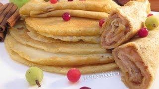 Блины на воде тонкие. Видео-рецепт.(Блины на воде тонкие с яблочной начинкой. Постные тонкие блины на воде подходят веганам. Рецепт тонких..., 2013-03-11T10:06:37.000Z)