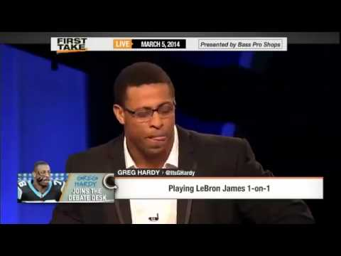Greg Hardy   'I Can Beat LeBron James 1 on 1!'     ESPN First Take