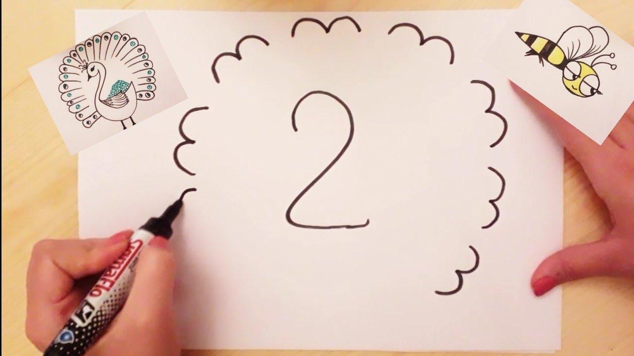 تعلم الرسم بالأرقام والحروف رسم طاووس ونحلة سهل جدا How To Draw