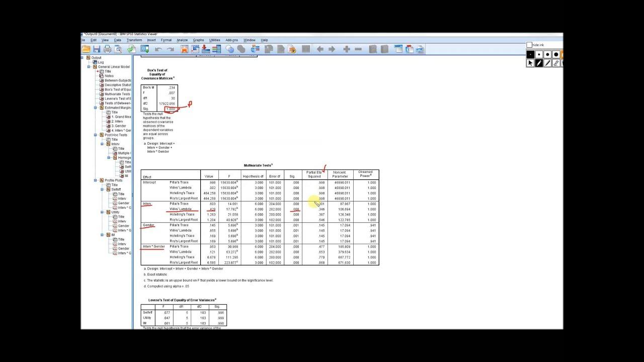 factorial MANOVA in SPSS video 1