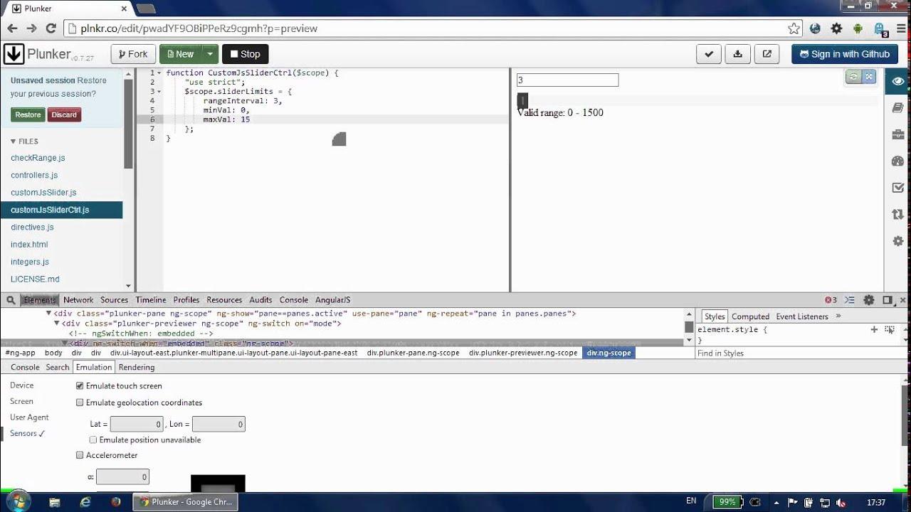 AngularJS Custom Range Slider