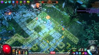 Path of Exile Act 4:  Epic Momma vs Dbl Courtyard Bosses w/ 1/2 regen