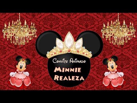 Convite Animado Minnie Realeza Vermelha