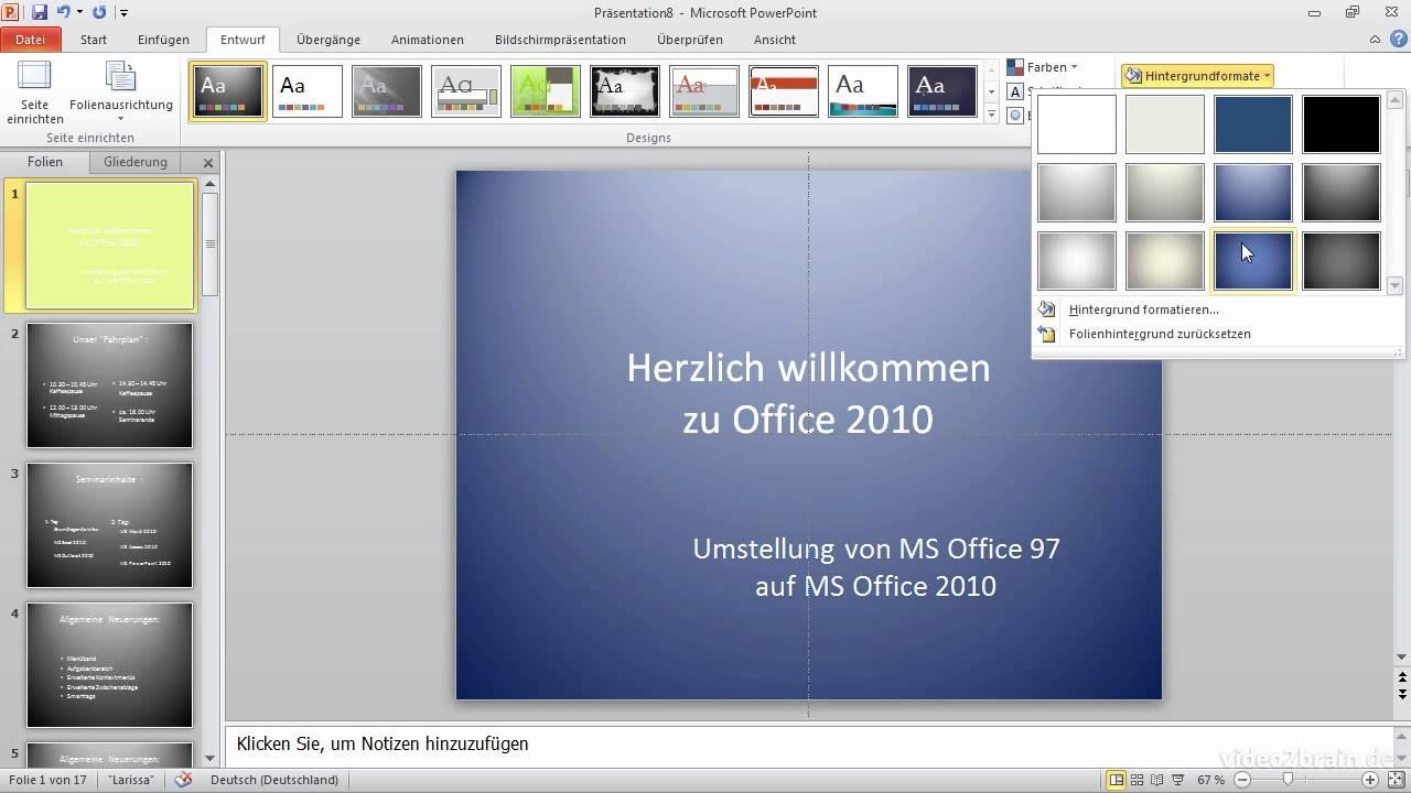 Designs Und Hintergründe Ihr Einstieg In Powerpoint 2010 Youtube