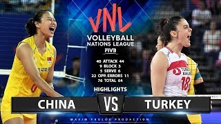 China vs Turkey  | Highlights | Women\'s VNL 2019