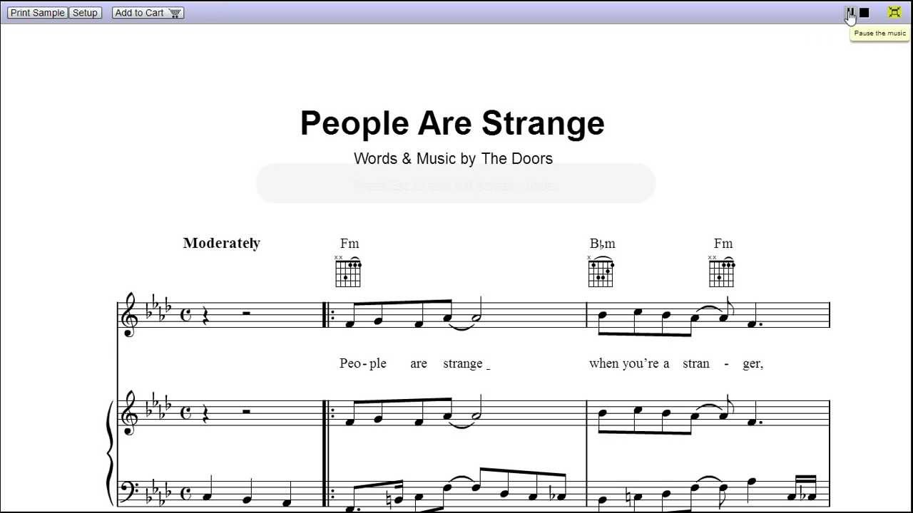 People are strange by the doors piano sheet musicteaser youtube hexwebz Choice Image