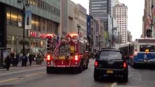 FDNY ENGINE 1 RESPONDING ON WEST 34TH STREET IN THE MIDTOWN AREA OF MANHATTAN IN NEW YORK CITY.