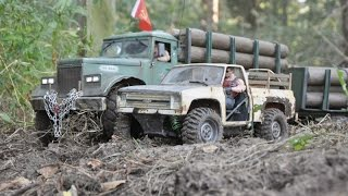 rc axial scx10 6x6 kraz 255 logging truck work meeting the moonshiner