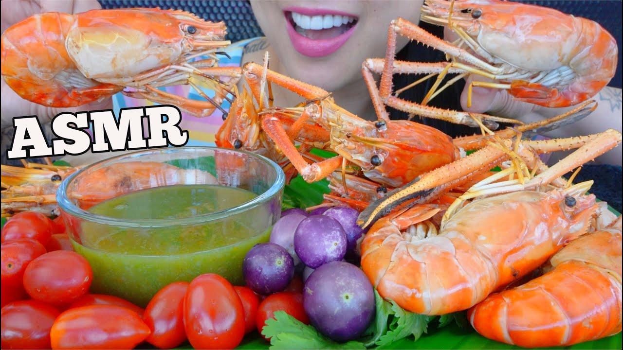 ASMR GRILL GIANT SHRIMP + GREEN SEAFOOD SAUCE (EATING SOUNDS) NO TALKING | SAS-ASMR