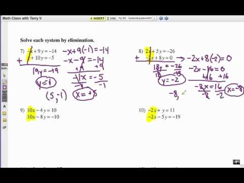 Worksheets Solving Systems Of Equations By Elimination Worksheet how to solve systems of equations elimination 1 youtube