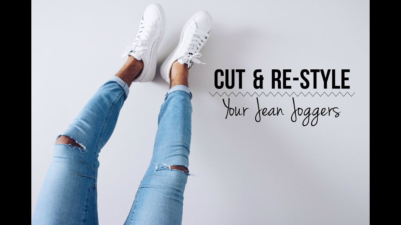 Cut Re Style Your Jean Joggers Diy Tutorial Demtheceleb Youtube Joger Riped Jeans