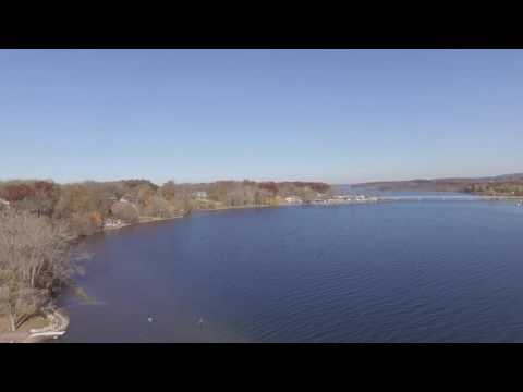 drone over saratoga lake