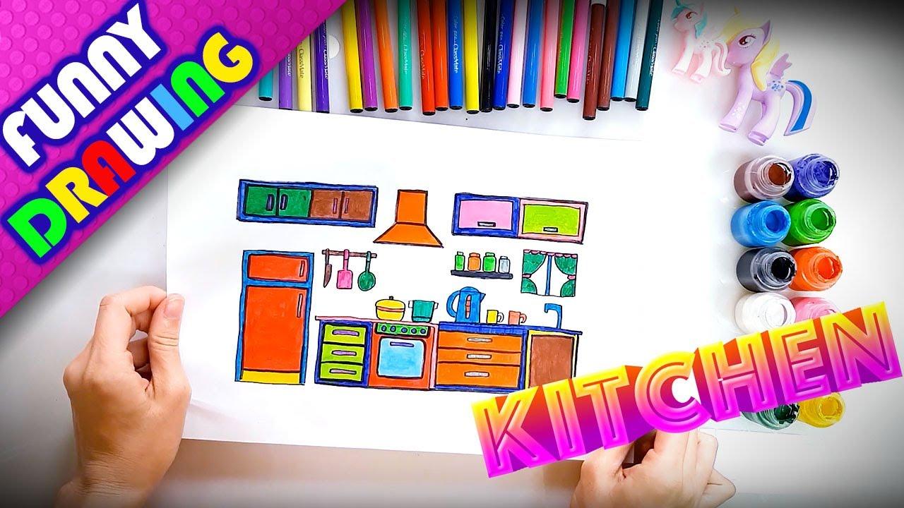 DIY - How to draw a kitchen easy - Dạy bé vẽ và tô màu