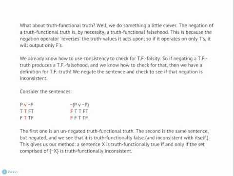 Philosophy 2020 (001): Basic Logic. Youtube Lecture 4 - Truth Functional Properties and Consistency