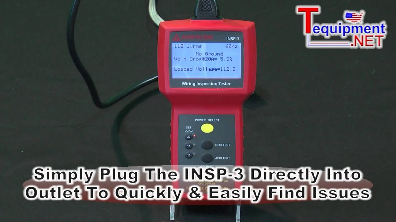 amprobe insp 3 wiring inspector tester youtube rh youtube com Wireless Receptacle Tester Receptacle Tension Tester