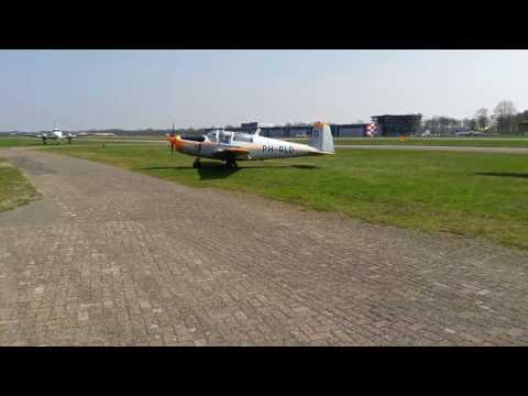 Taxi and take-off of Saab 91D Safir PH-RLD