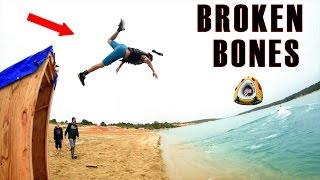 MASSIVE SLIP N SLIDE JUMP = BROKEN BONES | 4K