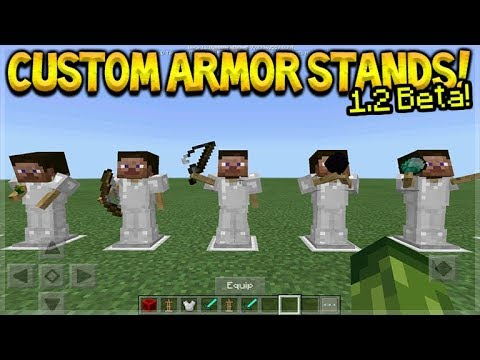 HOW TO USE CUSTOM ARMOR STANDS! Minecraft Pocket Edition - 1.2 BETA NEW Armor Stands Poses!